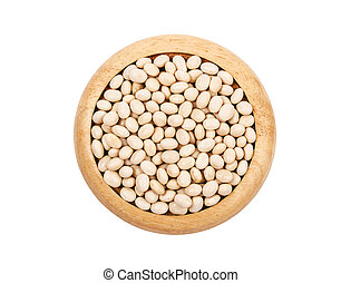 White beans seeds in wooden dish.