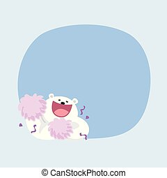 white bear cartoon cute on pastel color background for copy space