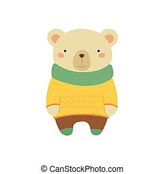 White Bear In Yellow Sweater Childish Illustration