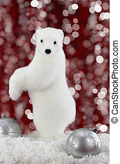 White bear on snow at Christmas