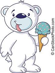 White bear with ice cream icon, cartoon style