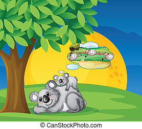 white bears - illustration of bears sitting and thinking...