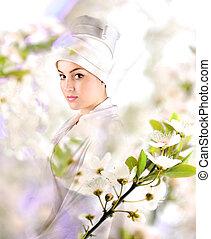 White beautiful geisha