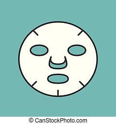 White beauty face mask, Filled outline icon