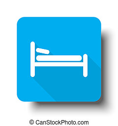 White Bed icon on blue web button