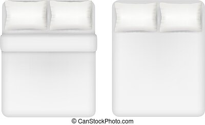 White bedding set vector realistic illustration