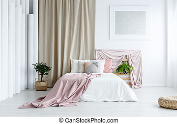White bedroom with pastel colors - White bedroom with...