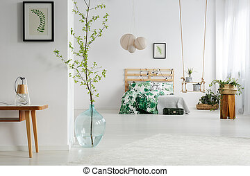 White bedroom with plants - White bedroom with green plants,...