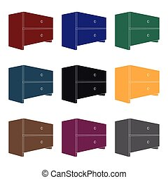 Bedside table clipart  Vector Clipart of White bedside table with two drawers.Room ...