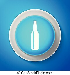 White Beer bottle icon isolated on blue background. Circle blue button with white line. Vector Illustration