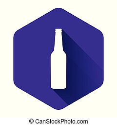 White Beer bottle icon isolated with long shadow. Purple hexagon button. Vector Illustration