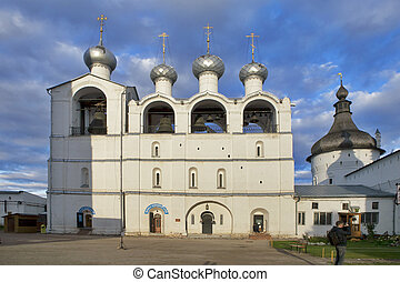 White Belfry with bells .Kremlin of ancient town of Rostov...