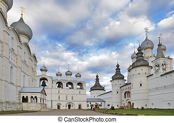 White Belfry with bells . Kremlin of ancient town of Rostov...