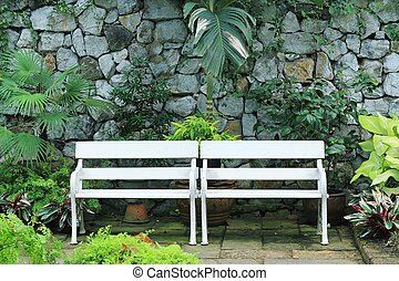 White bench in the park