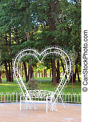 White bench with back in the form of hearts, Kyiv, Ukraine