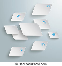 White Bevel Rectangles Abstract Infographic PiAd