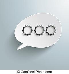 White Bevel Speech Bubble Three Black Gears PiAd