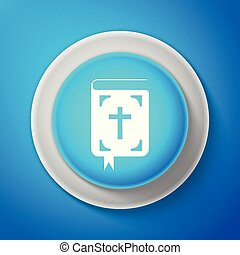 White Bible book icon isolated on blue background. Holy Bible book sign. Circle blue button with white line. Vector Illustration