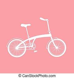 White bicycle illustration on pink background