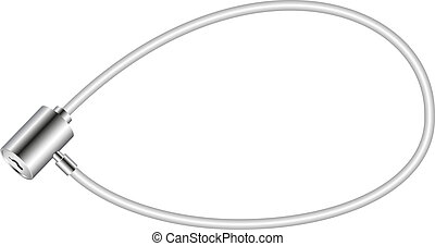 White bicycle lock isolated on white background
