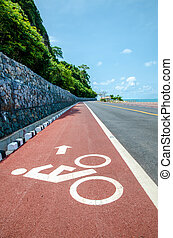 White bicycle path way sign on the roadside