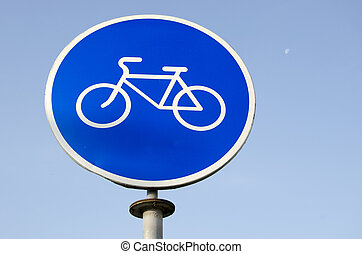 Road sign bicycle path.