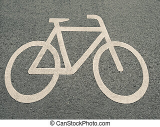White Bicycle Sign On Asphalt Road In Berlin, Germany