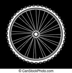 white bicycle wheels on black background