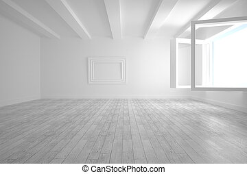 White big room with opened windows