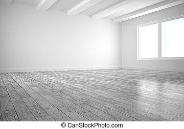 White big room with windows