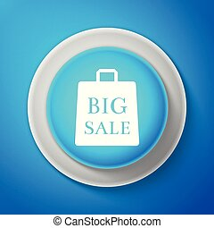 White Big sale bag icon isolated on blue background. Circle blue button with white line. Vector Illustration