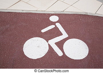 White Bike Lane Symbol