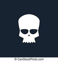 White Biker Skull Isolated, Silhouette Skull on Black...