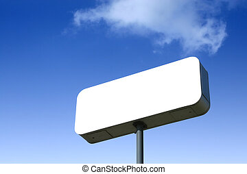 White Billboard, Blue Sky Behind. Outlined With Clipping...