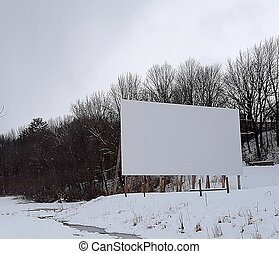 billboard in winter snow