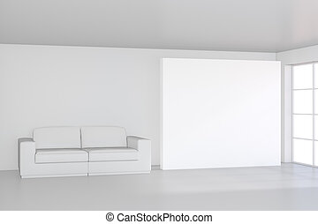 White billboard of empty canvas on the room and modern sofa. 3d rendering