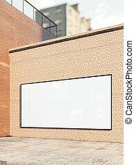 White billboard on a brick wall. 3d rendering
