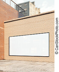White billboard on a brick wall. 3d rendering