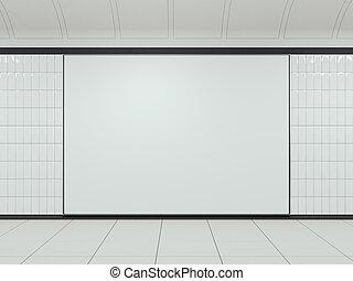 White billboard on clean station. 3d rendering
