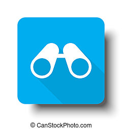 White Binoculars icon on blue web button