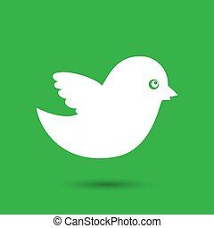 white bird icon on a green background