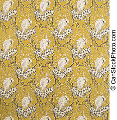 White Bird on Flowers Pattern Yellow Background Wallpaper Swatch