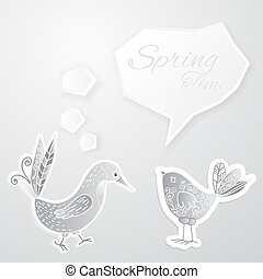 White bird with bubble on white background