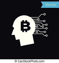 White Bitcoin think icon isolated on black background. Cryptocurrency head. Blockchain technology, bitcoin, digital money market, cryptocoin wallet. Vector Illustration
