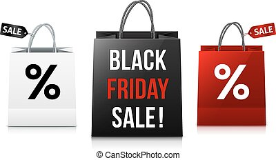 White, black and red Black Friday Sale shopping bags set -...