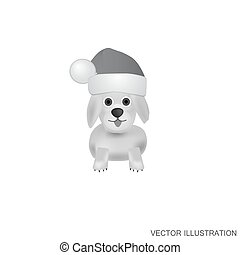 White-black background with dog. Vector illustration.