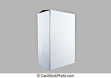 White black box on gray background