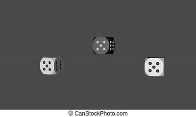 White Black Dice Loop Moving, 3D Rendering
