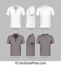 White black mens polo t-shirt set isolated on transparent background