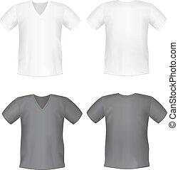 White black mens t-shirt short front, back views